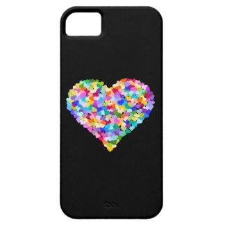 Confeti de los corazones del arco iris iPhone 5 carcasa