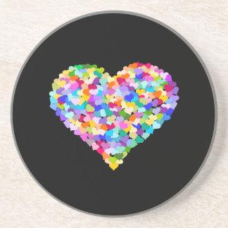 Confeti de los corazones del arco iris posavasos manualidades