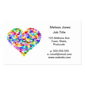 Confeti de los corazones del arco iris tarjetas de visita