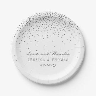 Confeti de plata atractivo del vintage que casa platos de papel