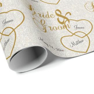 Confeti del boda y letras blancos elegantes del papel de regalo
