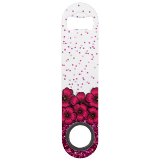Confeti del brillo de las flores que cae rosadas