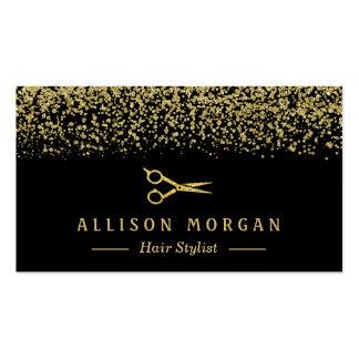 Confeti del brillo del oro del salón de las tarjetas de visita