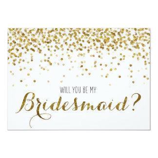 Confeti del brillo del oro usted será mi dama de invitación 12,7 x 17,8 cm