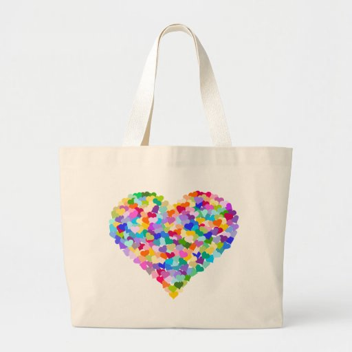 Confeti del corazón del arco iris bolsa tela grande