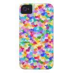 Confeti del corazón del arco iris iPhone 4 protectores