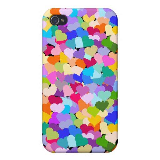 Confeti del corazón del arco iris iPhone 4 carcasa