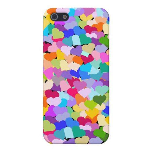 Confeti del corazón del arco iris iPhone 5 funda
