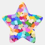 Confeti del corazón del arco iris pegatina en forma de estrella