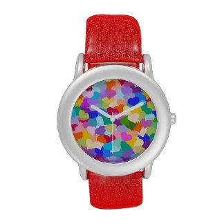 Confeti del corazón del arco iris reloj de mano