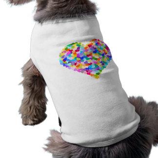 Confeti del corazón del arco iris camisas de perritos