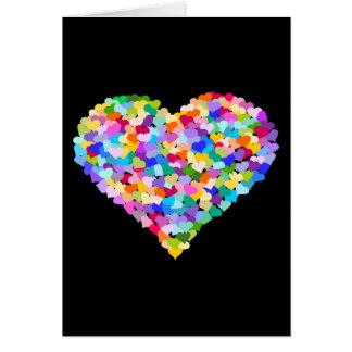 Confeti del corazón del arco iris tarjetón