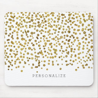 Confeti del encanto del oro tapete de raton