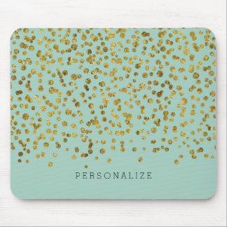 Confeti del encanto del oro y de la menta mouse pads
