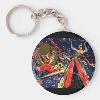 Confeti del fiesta de Eve de las Felices Año Nuevo Llavero Redondo Tipo Pin