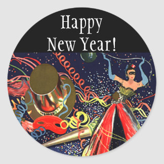 Confeti del fiesta de Eve de las Felices Año Nuevo Pegatina Redonda