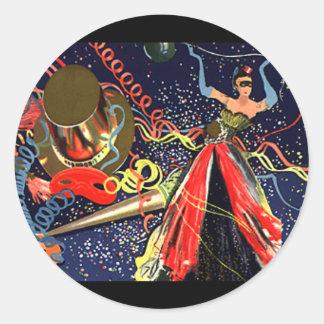Confeti del fiesta de Eve de las Felices Año Nuevo Pegatinas Redondas