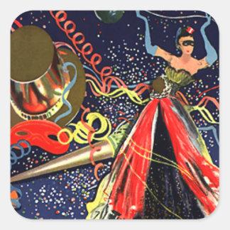 Confeti del fiesta de Eve de las Felices Año Nuevo Pegatina Cuadrada