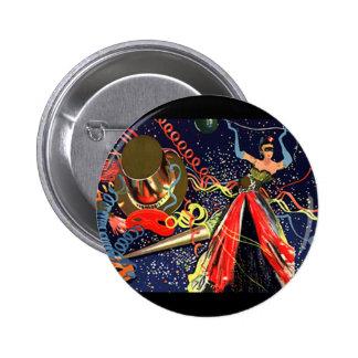 Confeti del fiesta de Eve de las Felices Año Nuevo Pin Redondo 5 Cm
