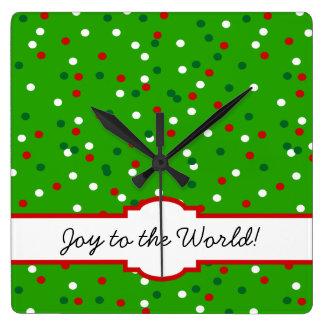 Confeti del navidad • El árbol de navidad asperja Reloj Cuadrado