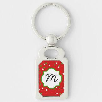 Confeti del navidad •  El canela candente asperja Llavero Plateado Rectangular