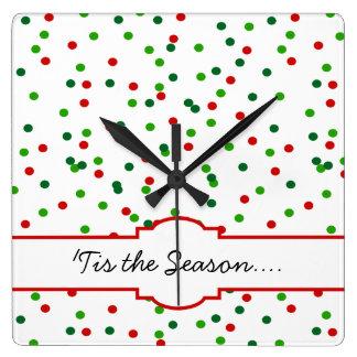Confeti del navidad •  La formación de hielo real  Reloj Cuadrado