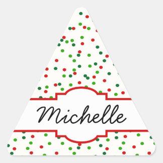 Confeti del navidad • La galleta de azúcar asperja Pegatina Triangular