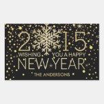 Confeti del oro del copo de nieve de la Feliz Año Rectangular Pegatinas