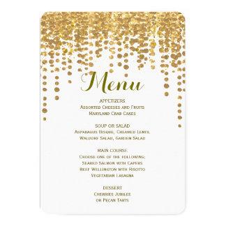 """Confeti del oro del menú el   de la cena invitación 5"""" x 7"""""""
