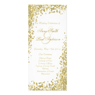 Confeti del oro y programa V del boda del brillo Plantilla De Lona