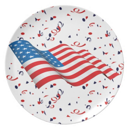 Confeti del patriota plato de cena