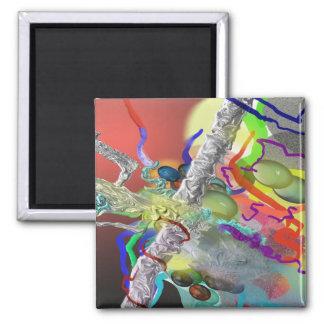 Confeti - diseño abstracto en rojo imán cuadrado