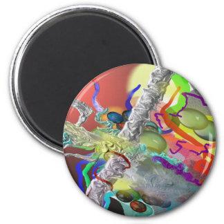 Confeti - diseño abstracto en rojo imán redondo 5 cm