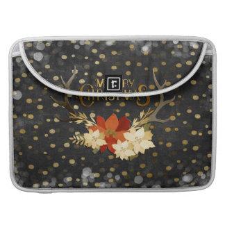 Confeti floral de las astas de las Felices Navidad Funda Para Macbook Pro