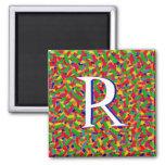 Confeti multicolor con monograma imanes de nevera