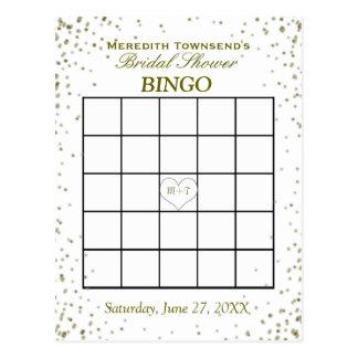 Confeti nupcial del oro del bingo el | de la ducha postales