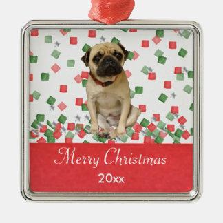 Confeti pintado del navidad del barro amasado a adorno navideño cuadrado de metal