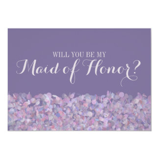 """Confeti púrpura usted será mi criada del honor invitación 5"""" x 7"""""""