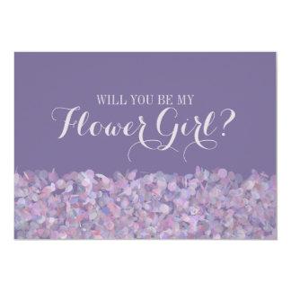 """Confeti púrpura usted será mi florista invitación 5"""" x 7"""""""