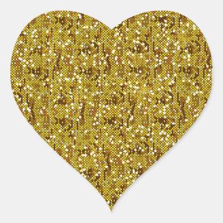 Confeti reluciente de la lentejuela del falso oro pegatina en forma de corazón