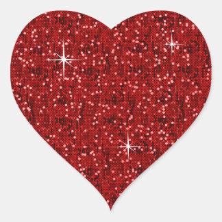 Confeti reluciente rojo pegatina en forma de corazón