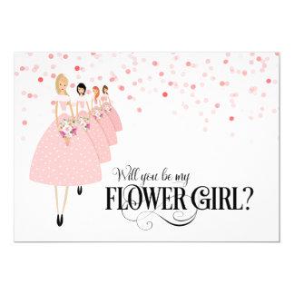 """Confeti rosado usted será mi florista invitación 5"""" x 7"""""""