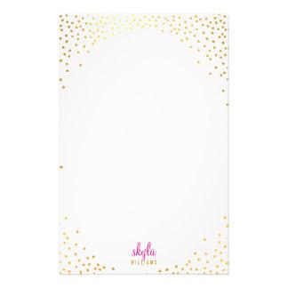 Confeti rústico atractivo de la hoja de oro del  papeleria de diseño