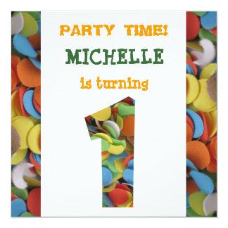 Confetti 1st Birthday Party Invitation