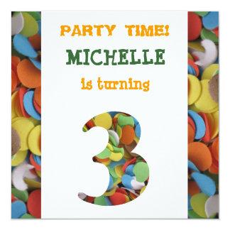 Confetti 3rd Birthday Party Invitation