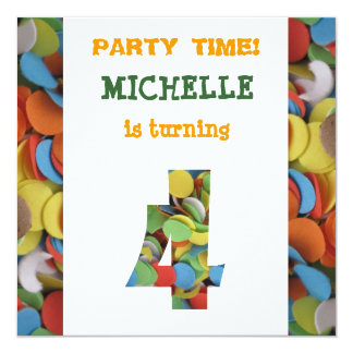 Confetti 4th Birthday Party Invitation