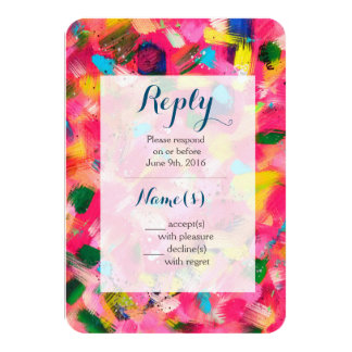 Confetti Abstract Art Wedding Reply Card