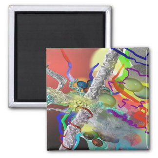 Confetti - Abstract Design in Red 2 Inch Square Magnet