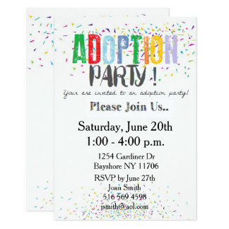 Confetti Adoption Party Invites by ozias