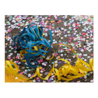 confetti and streamers at carnival postcard